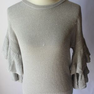 DKNY Ruffled Metallic Sweater XS